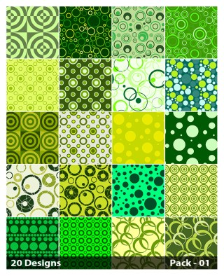 20 Green Circle Pattern Vector Pack 01