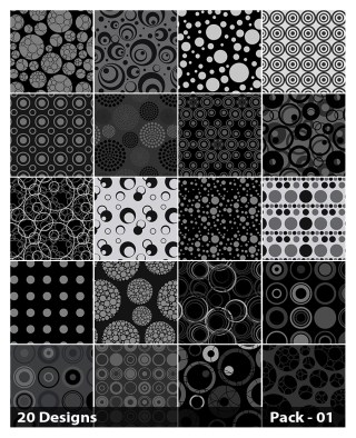20 Black Circle Pattern Vector Pack 01