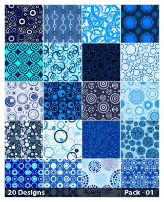 20 Blue Circle Pattern Vector Pack 01