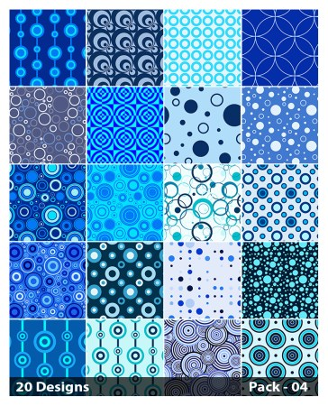 20 Blue Circle Background Pattern Vector Pack 04