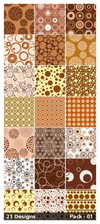 21 Brown Seamless Circle Pattern Vector Pack 01