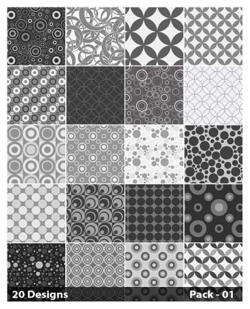 20 Grey Circle Pattern Vector Pack 01