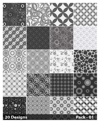 20 Grey Circle Pattern Vector Pack 01