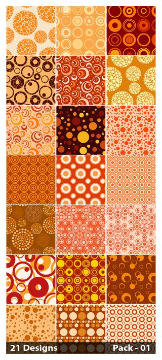 21 Orange Seamless Circle Pattern Vector Pack 01