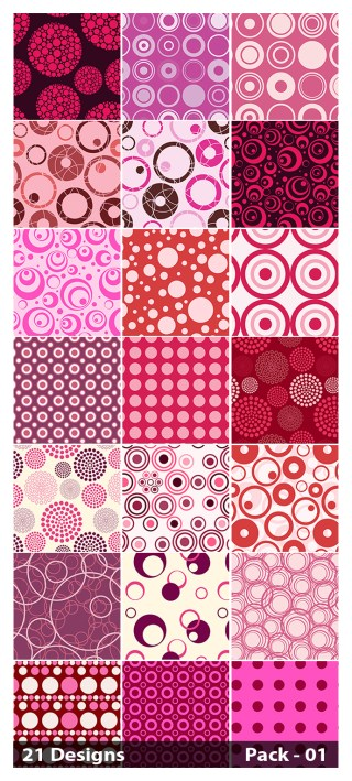 21 Pink Seamless Circle Pattern Vector Pack 01