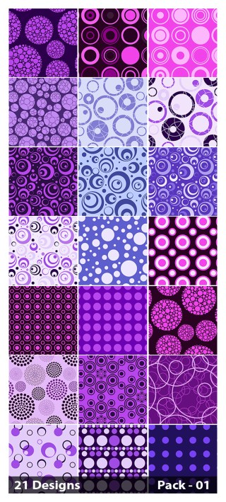 21 Purple Seamless Circle Pattern Vector Pack 01