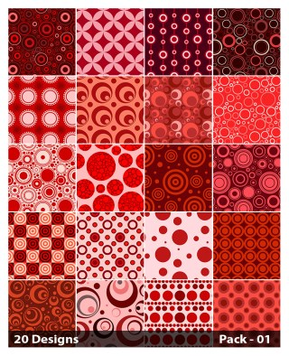 20 Red Circle Pattern Vector Pack 01