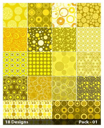 18 Yellow Seamless Circle Pattern Vector Pack 01