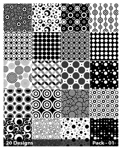 20 Black and White Circle Pattern Vector Pack 01