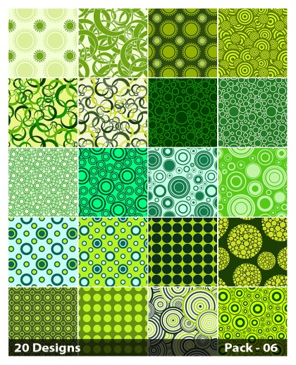 20 Green Circle Pattern Vector Pack 06
