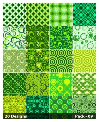 20 Green Circle Background Pattern Vector Pack 09