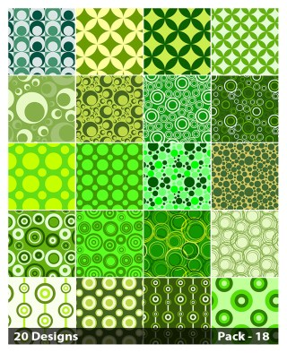 20 Green Circle Pattern Vector Pack 18