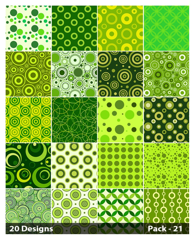 20 Green Circle Background Pattern Vector Pack 21