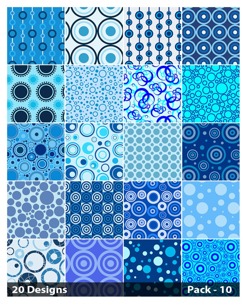 20 Blue Circle Background Pattern Vector Pack 10