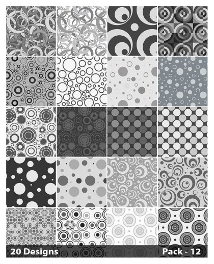 20 Grey Geometric Circle Pattern Vector Pack 12