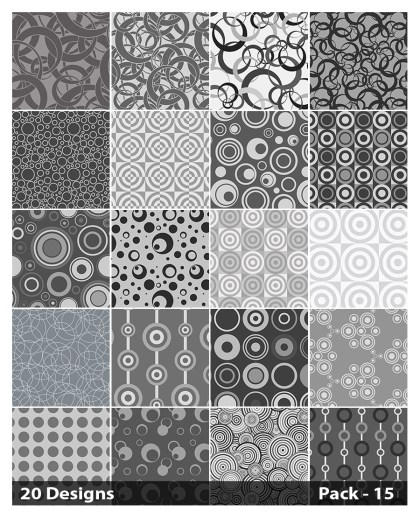 20 Grey Seamless Geometric Circle Pattern Vector Pack 15