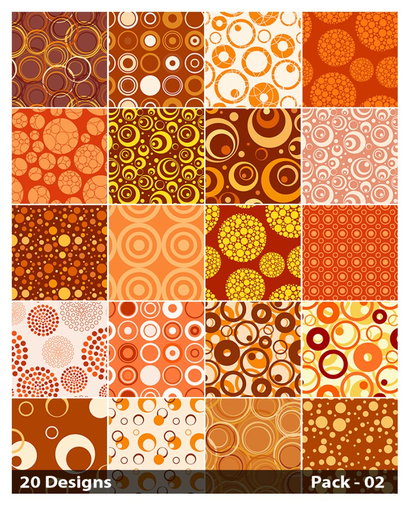 20 Orange Circle Pattern Vector Pack 02