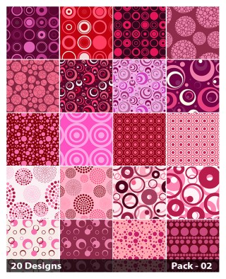 20 Pink Circle Pattern Vector Pack 02