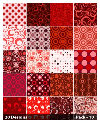 20 Red Circle Background Pattern Vector Pack 10