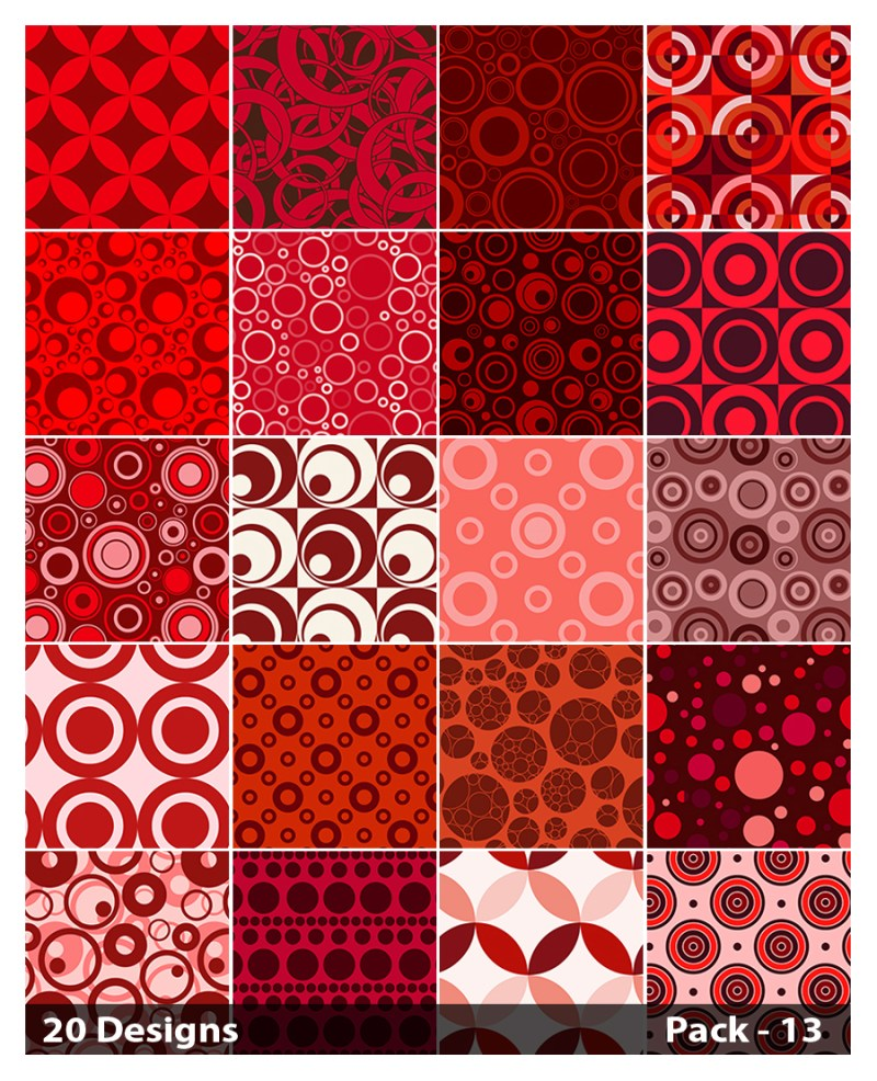 20 Red Geometric Circle Pattern Vector Pack 13
