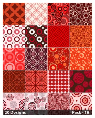 20 Red Seamless Geometric Circle Pattern Vector Pack 16