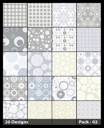 20 White Circle Pattern Vector Pack 02