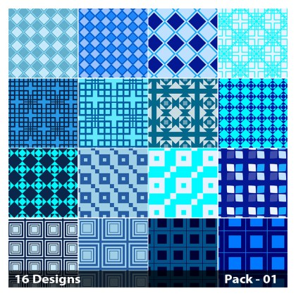 16 Blue Square Pattern Vector Pack 01