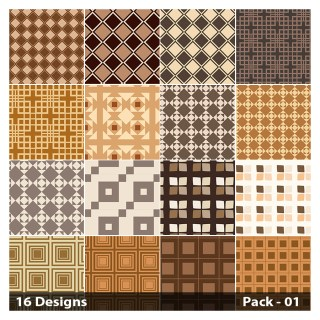 16 Brown Square Pattern Vector Pack 01