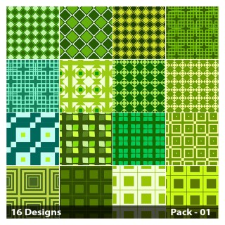 16 Green Square Pattern Vector Pack 01