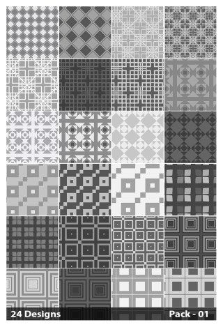 24 Grey Seamless Square Pattern Vector Pack 01