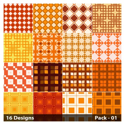 16 Orange Square Pattern Vector Pack 01