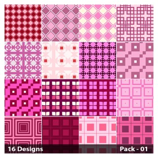 16 Pink Square Pattern Vector Pack 01