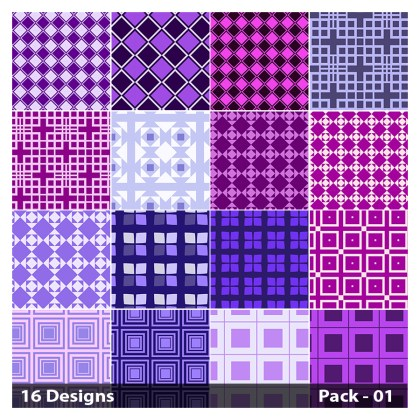 16 Purple Square Pattern Vector Pack 01