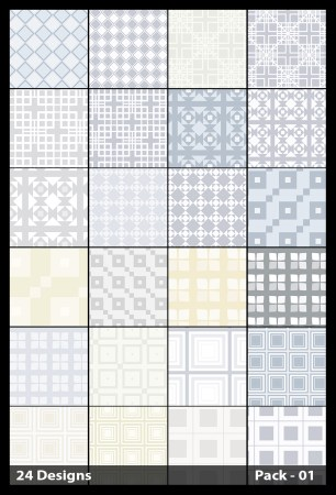 24 White Seamless Square Pattern Vector Pack 01