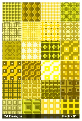 24 Yellow Seamless Square Pattern Vector Pack 01