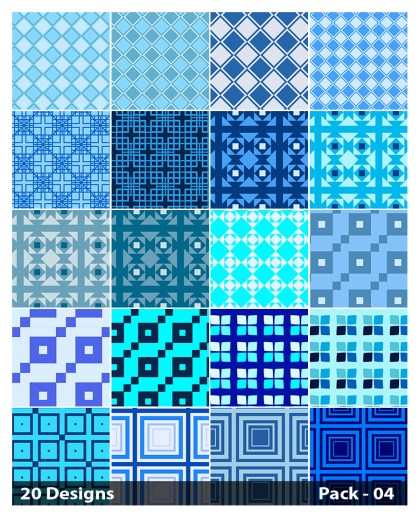 20 Blue Square Pattern Background Vector Pack 04