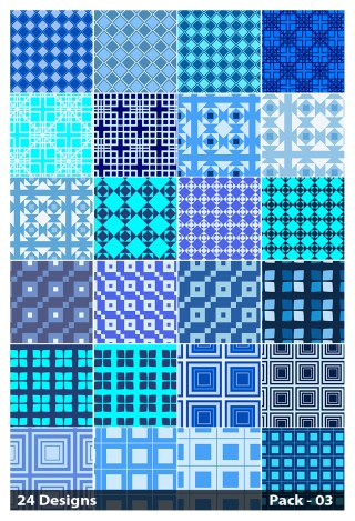 24 Blue Seamless Square Pattern Background Vector Pack 03