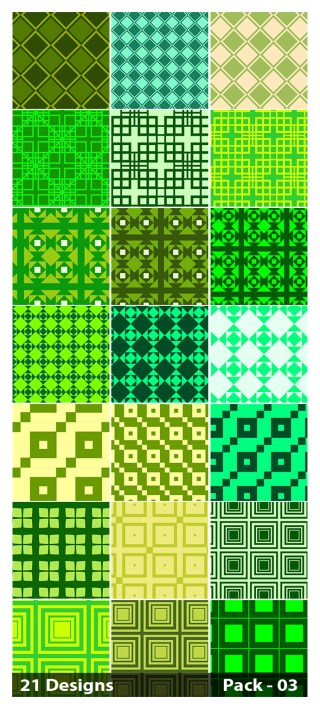 21 Green Seamless Square Pattern Background Vector Pack 03
