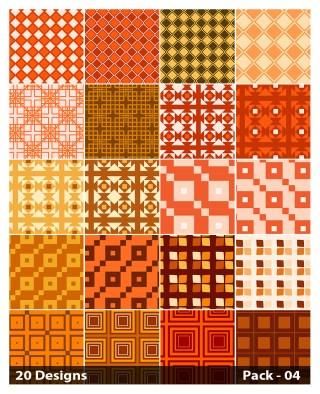 20 Orange Square Pattern Background Vector Pack 04