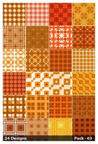 24 Orange Seamless Square Pattern Background Vector Pack 03