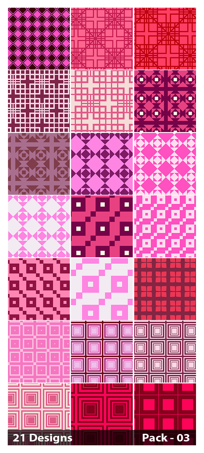 21 Pink Seamless Square Pattern Background Vector Pack 03