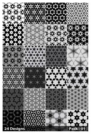 24 Black Seamless Star Pattern Vector Pack 01