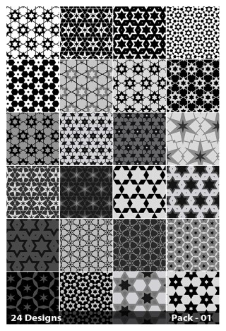24 Black Seamless Star Pattern Vector Pack 01