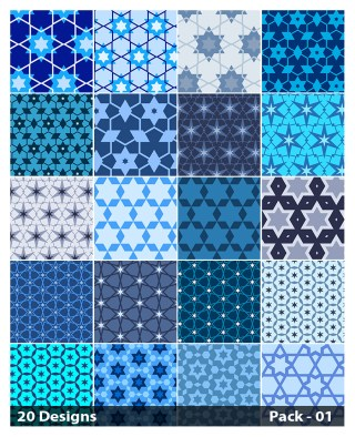 20 Blue Star Pattern Vector Pack 01