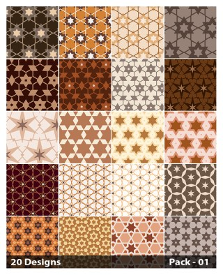 20 Brown Star Pattern Vector Pack 01