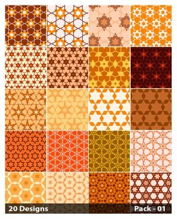 20 Orange Star Pattern Vector Pack 01