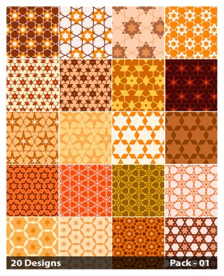 20 Orange Star Pattern Vector Pack 01