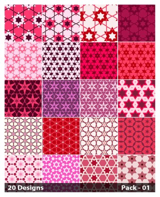 20 Pink Star Pattern Vector Pack 01