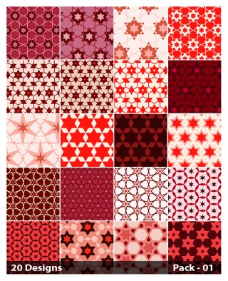 20 Red Star Pattern Vector Pack 01