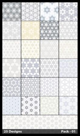25 White Seamless Star Pattern Vector Pack 01